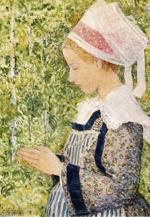 famous painting Brittany Peasant of Frederick Childe Hassam