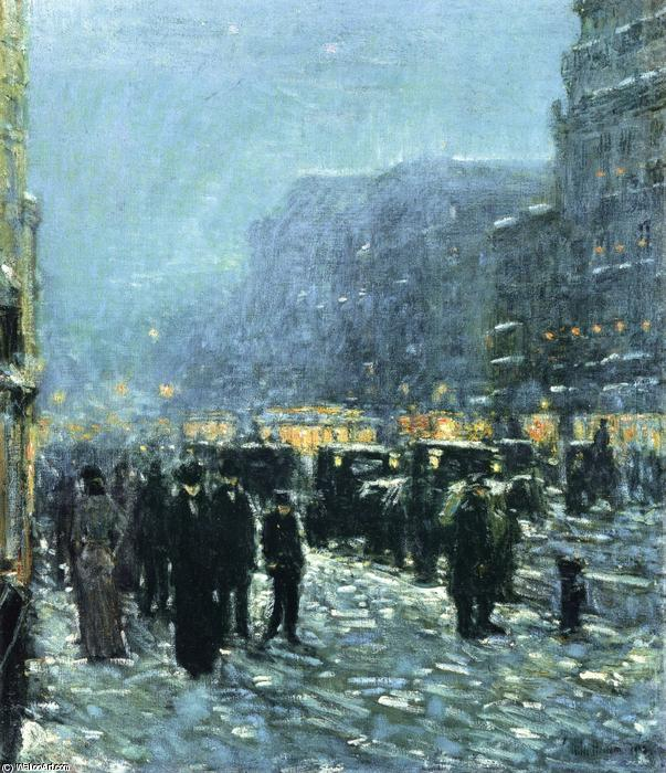 famous painting Broadway and 42nd Street of Frederick Childe Hassam