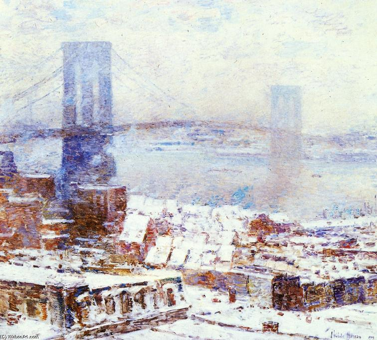 famous painting Brooklyn Bridge in Winter of Frederick Childe Hassam