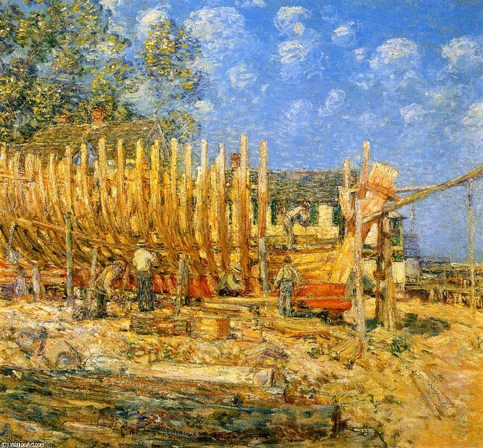 famous painting Building the Schooner, Provincetown of Frederick Childe Hassam