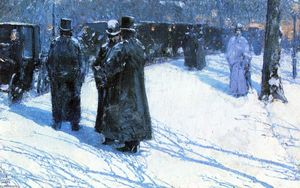 Frederick Childe Hassam - Cab Stand at Night, Madison Square, New York
