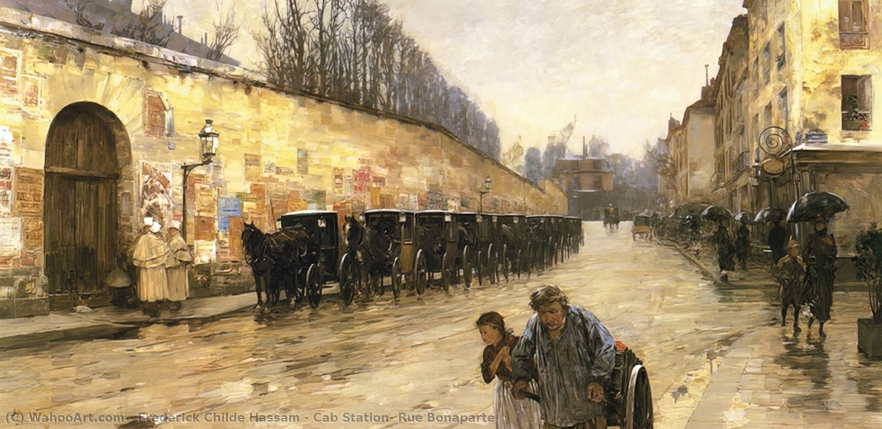 famous painting Cab Station, Rue Bonaparte of Frederick Childe Hassam