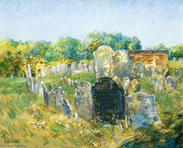 famous painting Colonial Graveyard at Lexington of Frederick Childe Hassam
