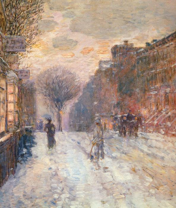 famous painting Early Evening, After Snowfall of Frederick Childe Hassam