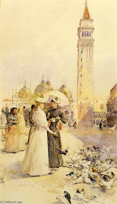 famous painting Feeding Pigeons in the Piazza of Frederick Childe Hassam