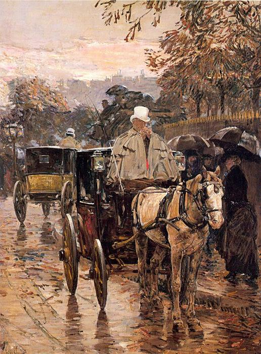 famous painting Fiacre, Rue Bonaparte of Frederick Childe Hassam