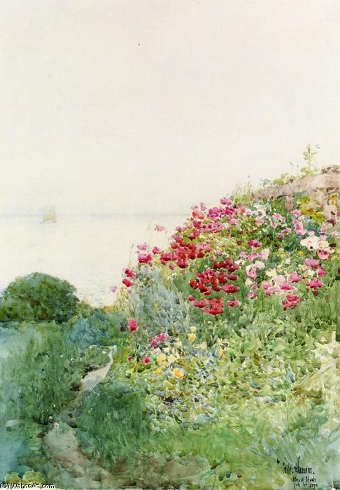 famous painting Field of Poppies, Isles of Shaos, Appledore of Frederick Childe Hassam
