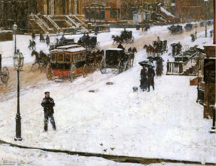 famous painting Fifth Avenue in Winter 1 of Frederick Childe Hassam