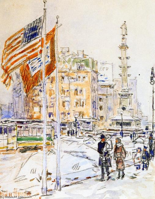 famous painting Flags, Columbus Circle of Frederick Childe Hassam