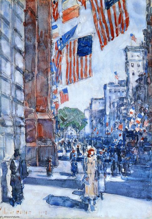 famous painting Flags, Fifth Avenue of Frederick Childe Hassam