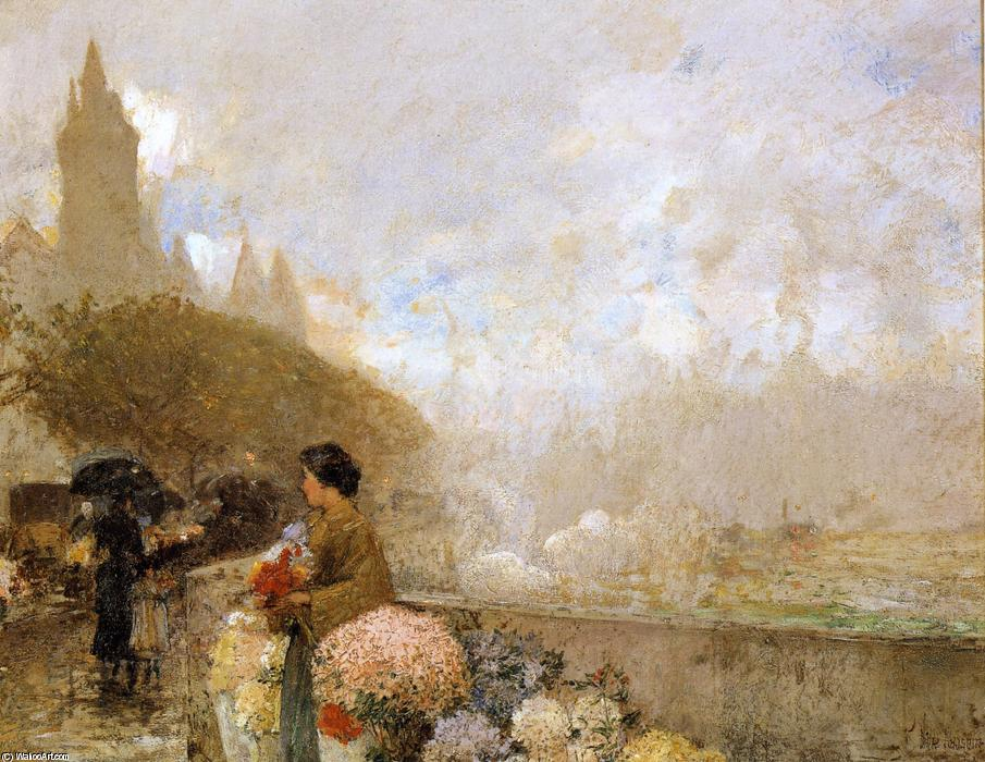 famous painting Flower Girl by the Seine, Paris of Frederick Childe Hassam