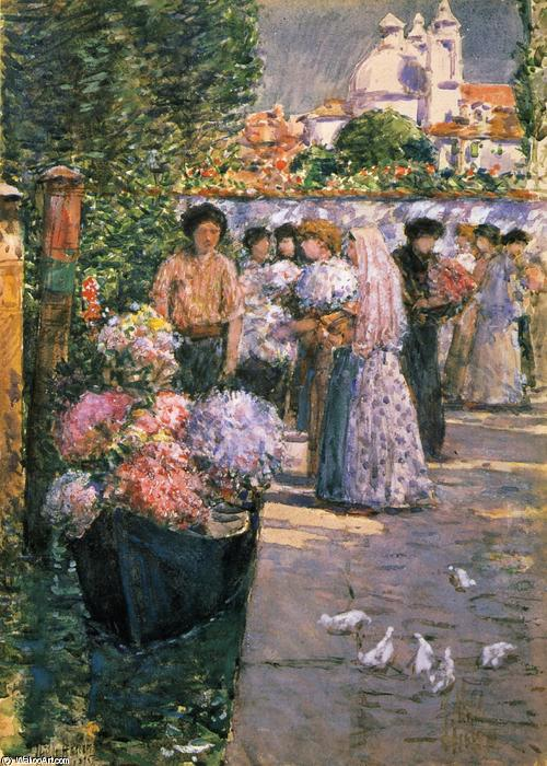 famous painting Flower Market of Frederick Childe Hassam