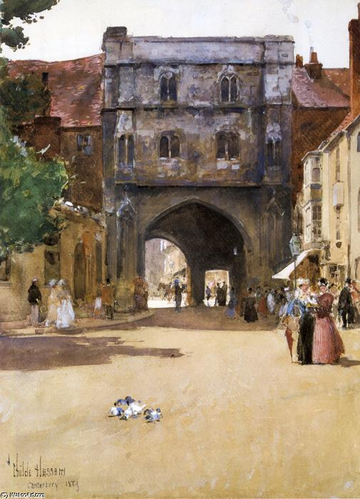 famous painting Gateway at Canterbury of Frederick Childe Hassam