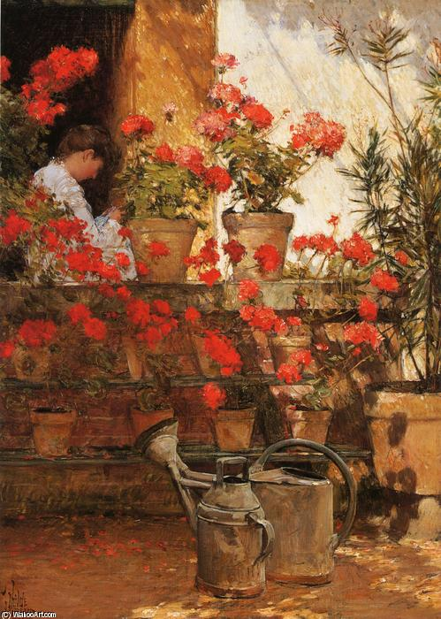 famous painting Geraniums of Frederick Childe Hassam
