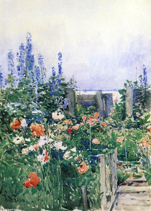 famous painting Home of the Hummingbird of Frederick Childe Hassam