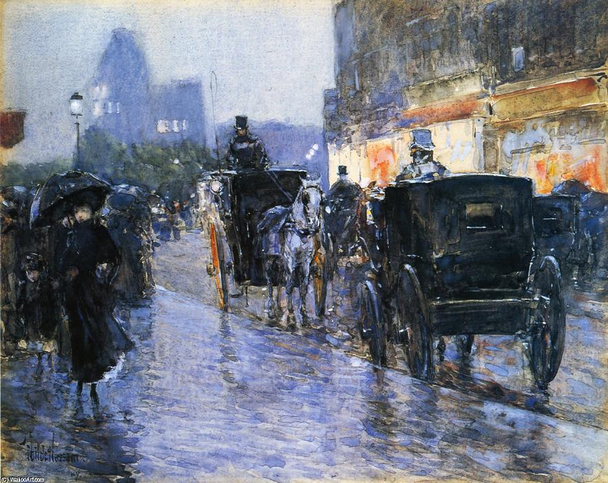 famous painting Horse Drawn Cabs at Evening, New York of Frederick Childe Hassam