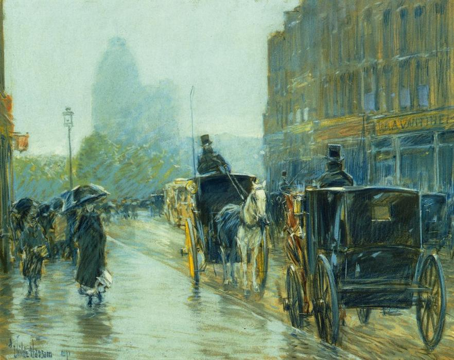 famous painting Horse-Drawn Cabs at Evening, New York of Frederick Childe Hassam