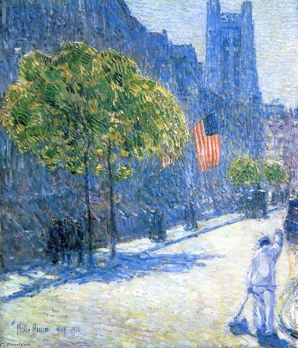 famous painting Just Off the Avenue, Fifty-Third Stret, May, 1916 of Frederick Childe Hassam