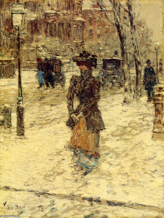 famous painting Lady Walking down Fifth Avenue of Frederick Childe Hassam
