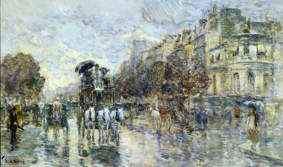 famous painting Les Grands Boulevards, Paris of Frederick Childe Hassam