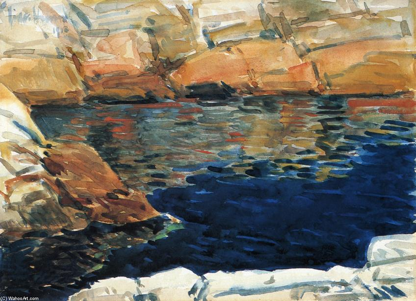 famous painting Looking into Beryl Pool of Frederick Childe Hassam