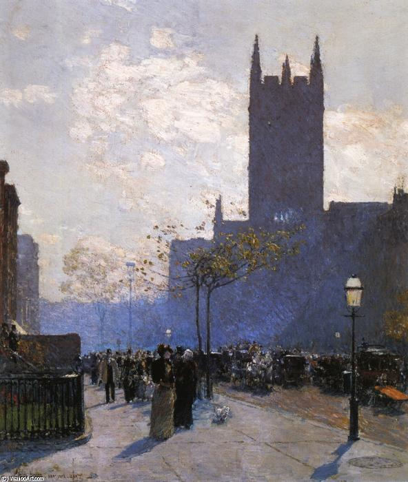 famous painting Lower Fifth Avenue of Frederick Childe Hassam