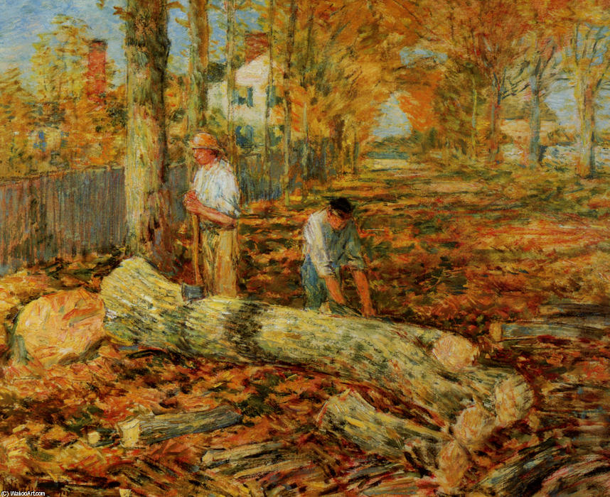 famous painting Lumbering of Frederick Childe Hassam