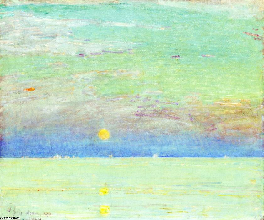 famous painting Moonrise at Sunset of Frederick Childe Hassam