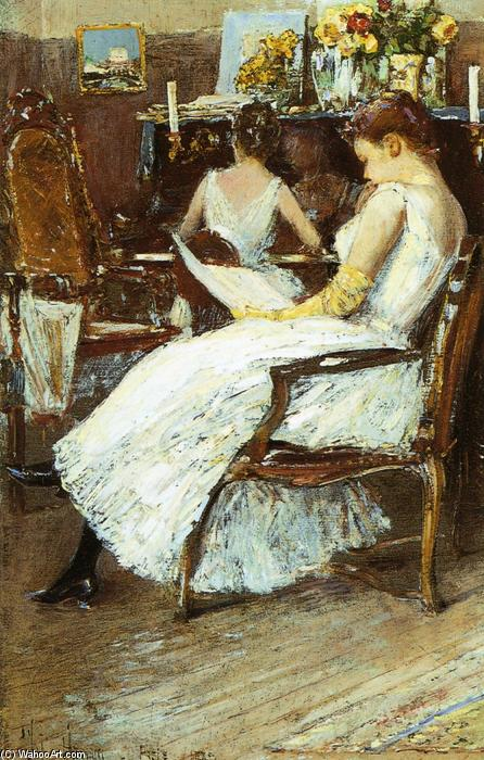 famous painting Mrs. Hassam and Her Sister of Frederick Childe Hassam