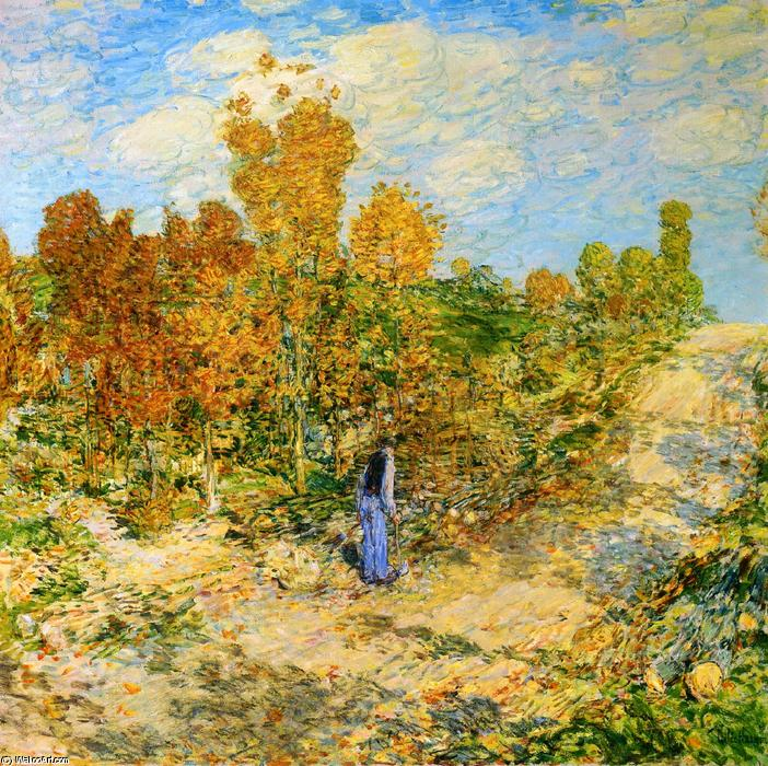 famous painting New England Road of Frederick Childe Hassam