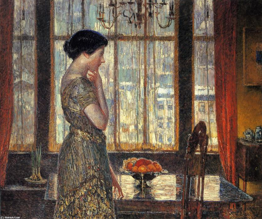famous painting New York Winter Window of Frederick Childe Hassam