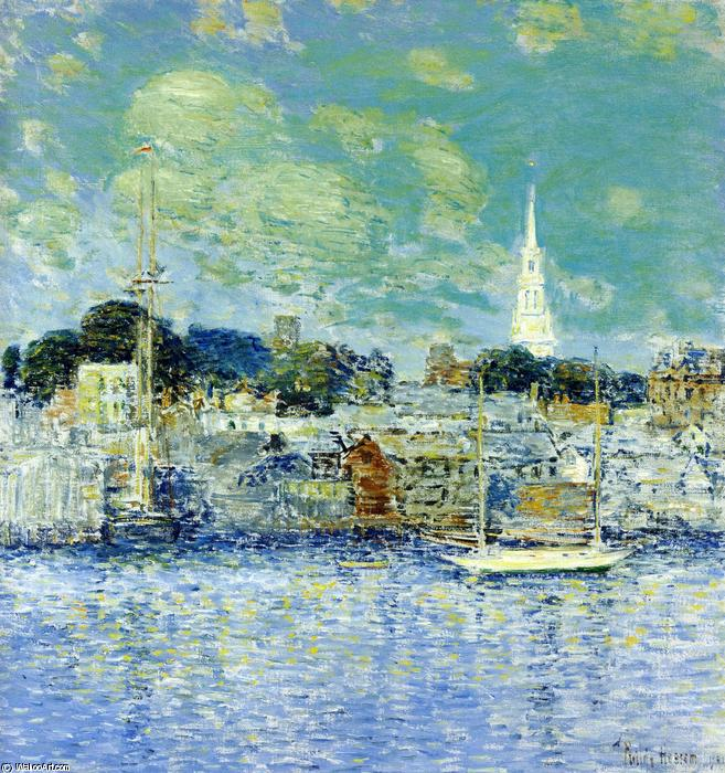 famous painting Newport Waterfront of Frederick Childe Hassam