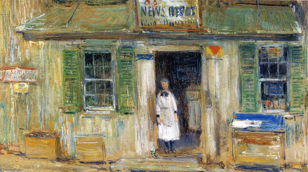 famous painting News Depot, Cos Cob of Frederick Childe Hassam