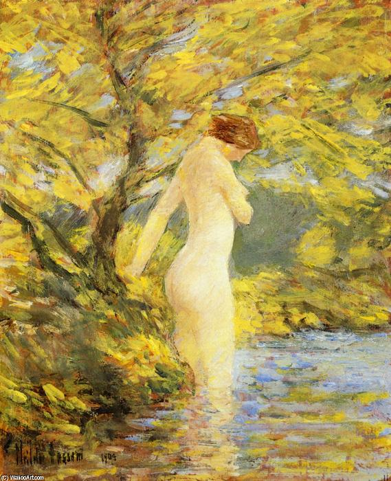 famous painting Numph Bathing of Frederick Childe Hassam