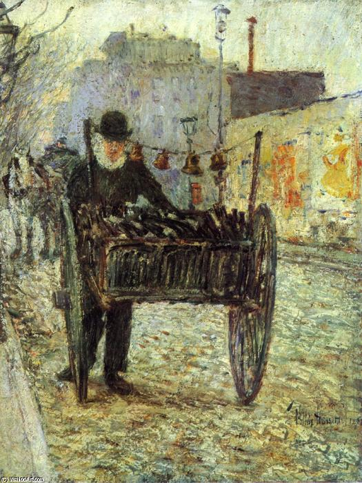 famous painting Old Bottle Man of Frederick Childe Hassam