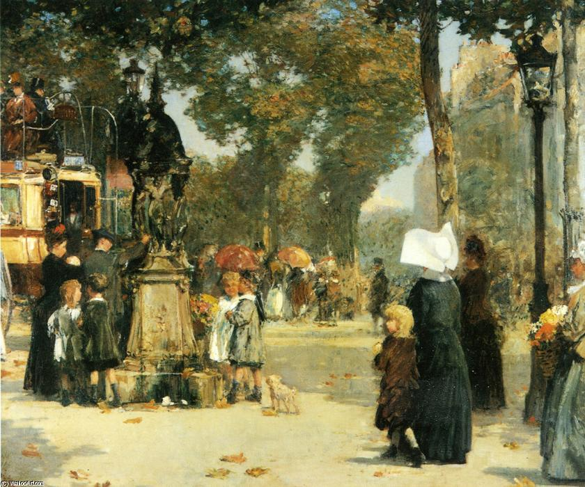 famous painting Paris Street Scene 1 of Frederick Childe Hassam