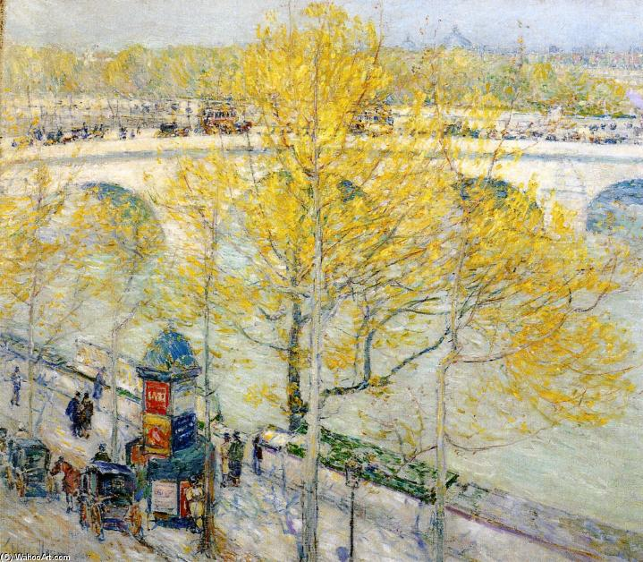 famous painting Pont Royal, Paris of Frederick Childe Hassam