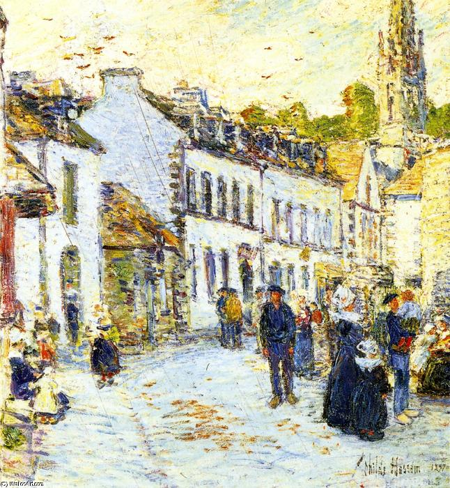 famous painting Pont-Aven, Evening of Frederick Childe Hassam