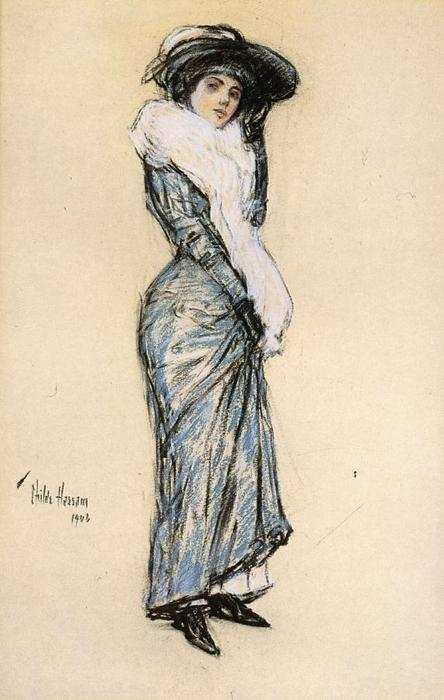 famous painting Portrait of a Lady in Blue Dress of Frederick Childe Hassam