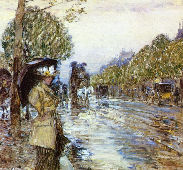 famous painting Rainy Day, Paris of Frederick Childe Hassam