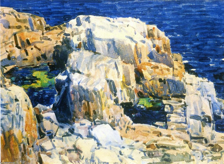 famous painting Rocks at Appledore of Frederick Childe Hassam