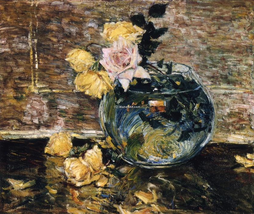 famous painting Roses in a Vase of Frederick Childe Hassam