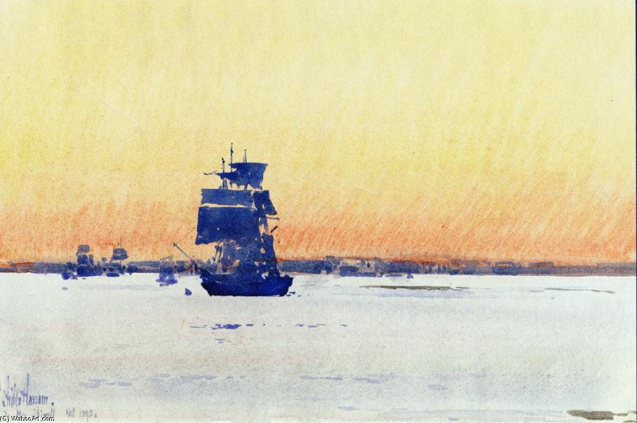 famous painting Sailing Ship Locked in Ice of Frederick Childe Hassam