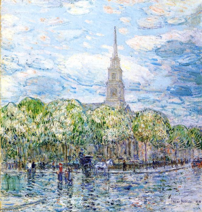 famous painting Saint Mark's in the Bowery of Frederick Childe Hassam