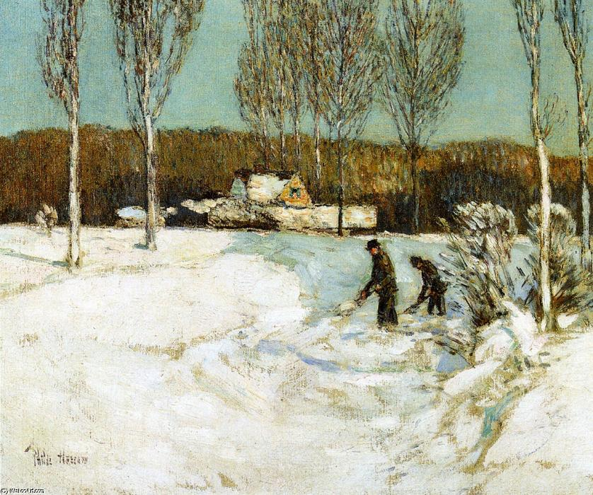 famous painting Shoveling Snow, New England of Frederick Childe Hassam
