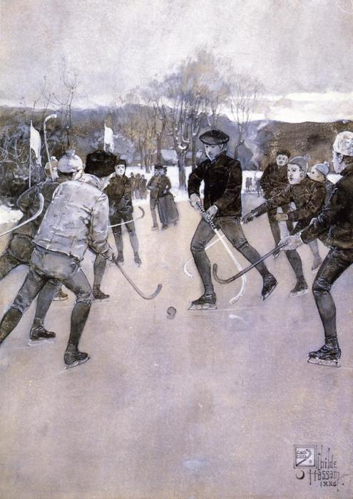famous painting Skating of Frederick Childe Hassam