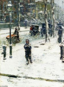 Frederick Childe Hassam - Snow Storm, Fifth Avenue, New York