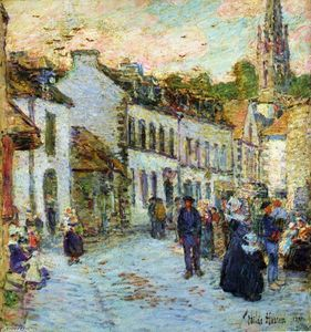 Frederick Childe Hassam - Street in Pont Aven - Evening