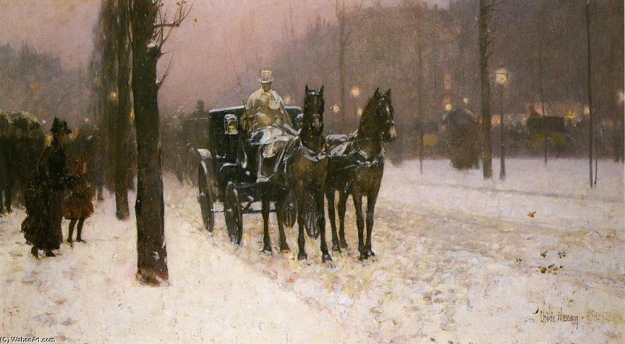 famous painting Street Scene with Hansom Cab of Frederick Childe Hassam