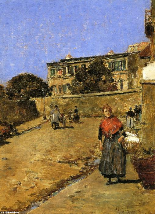 famous painting Street Scene, Montmartre of Frederick Childe Hassam